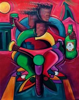 "Fiestando en la Manana Oil on Canvas 24"" x 30"""