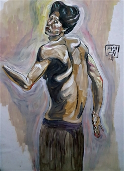 """Selfportrait  (4) Oil on Paper 38"""" x 28"""""""