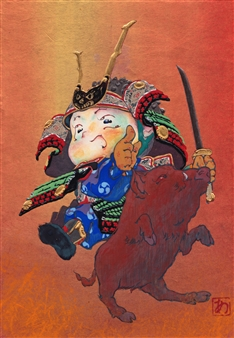 """Rushing Warrior Mixed Media on Japanese Paper 9"""" x 6.5"""""""