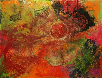 """Blood Moon Oil, Acrylic, Gesso, Resin on Canvas 48"""" x 60"""""""