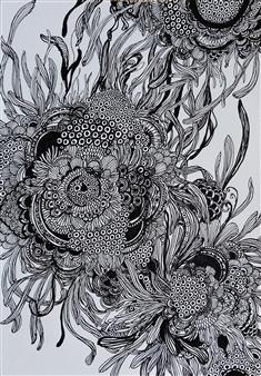 """Sunflower Pen on Paper 11.5"""" x 7.5"""""""