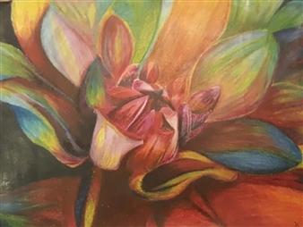 "Chrysanthemum Tiptoe Colored Pencils on Celer Paper 8"" x 12"""