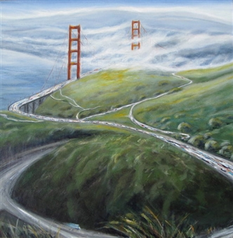 """Golden Gate from Above Acrylic on Canvas 30"""" x 30"""" x 1.5"""""""