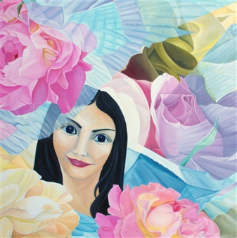 """Mary Beautiful Oil on Canvas and Wood 51"""" x 51"""""""