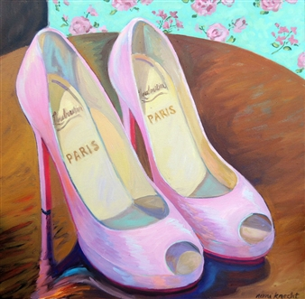 """PinK Goody Two Shoes II Oil on Canvas 25.5"""" x 25.5"""""""