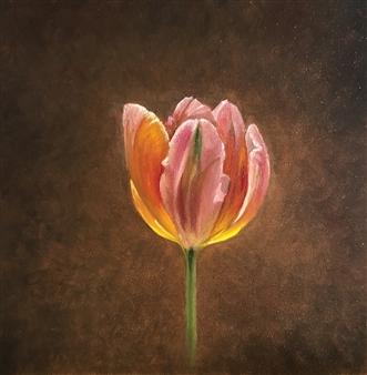 """Radiant Tulip Oil on Panel 5"""" x 5"""""""
