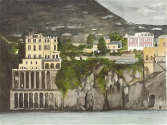 """Stormy Sorrento Watercolor on Paper 16"""" x 24"""""""