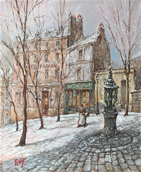"""Winter Morning at Bateau Lavoir Oil on Canvas 18"""" x 15"""""""