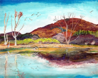 Berkshires Autumn Wetland in Peak Pastel Color