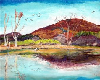 "Berkshires Autumn Wetland in Peak Pastel Color Mixed Media Digital Print 24"" x 30"""