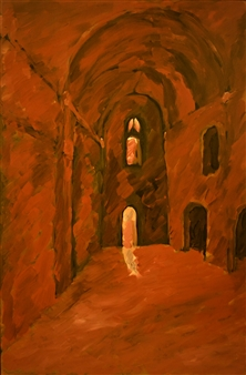 "Rhodes Naos Oil on Canvas 27.5"" x 18"""