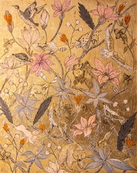 """Yellowstone Acrylic & Gold Leaf on Canvas 39.5"""" x 31.5"""""""