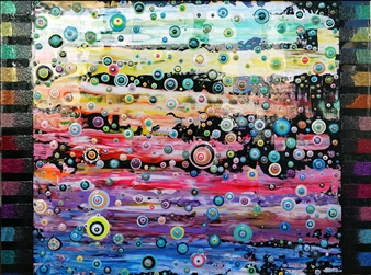 "Rainbow Rain Acrylic & Enamel 30"" x 40"""