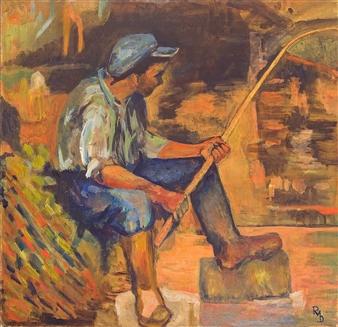 """Jeune Pecheur Oil on Canvas 23.5"""" x 23.5"""""""