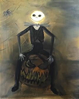 """Jack Skellington Oil on Canvas 23.5"""" x 19.5"""""""