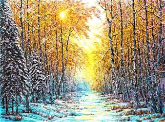 "Winter Evening Acrylic on Canvas 23.5"" x 31.5"""