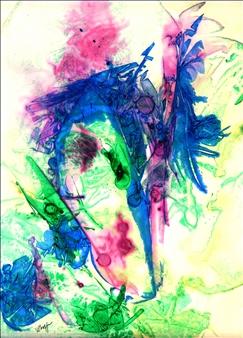 """Blue Iris Ink on Board 12"""" x 10"""""""