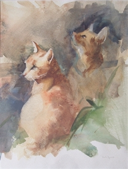 """Snick and Chamois Watercolor on Paper 20"""" x 14"""""""