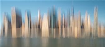"New York East Side Manhattan Photograph on Aluminum 19.5"" x 39.5"""