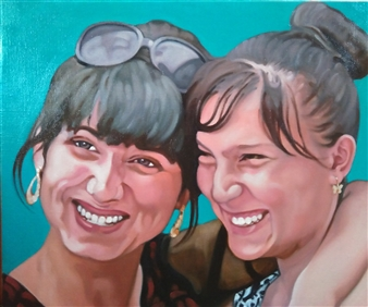 """Two Girls at Samarkand Oil on Canvas 15"""" x 18"""""""