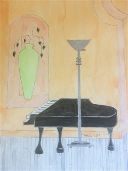 Black Piano & Green Vase at the Theatre