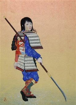 """Woman Warrior Mixed Media on Japanese Paper 18"""" x 13"""""""