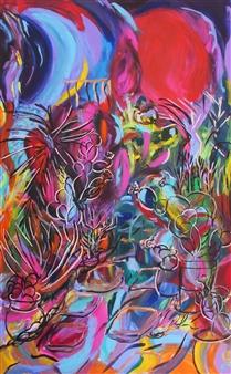 """Cactus Garden Acrylic on Canvas 48"""" x 30"""""""