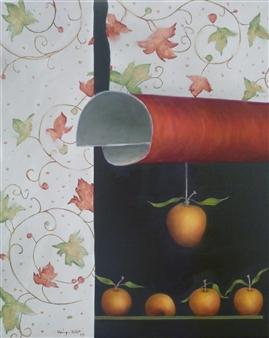 "Pommes Avec Arabesques Fond Blanc Oil on Canvas 20"" x 16"""