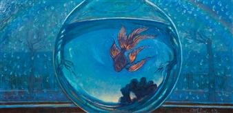 """Aquarium Fish Oil on Canvas 19.5"""" x 39.5"""""""