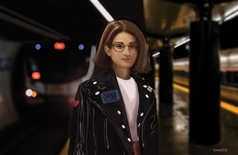 """Woman at the Train Station Digital Painting on Aluminum 28"""" x 42"""""""