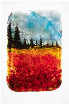 """Forest 1 Glass Painting 7"""" x 5"""""""