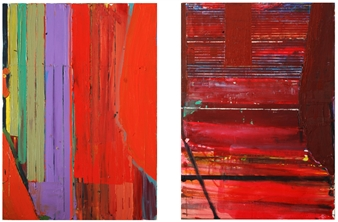 """City of Glass 26 –  (Avenues), City of Glass 25 –  (Streets) Oil on Canvas, diptych 28"""" x 43.5"""""""