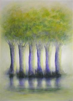 """Trees on Canal du Midi Acrylic on Canvas 31.5"""" x 25.5"""""""