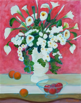 """Artificial Flowers with Fruit Acrylic on Canvas 30"""" x 24"""""""