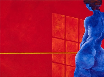"""Blue Lady in Red Room 3 Acrylic on Canvas 36"""" x 48"""""""