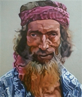 """A Fisherman at Dhaka Oil on Canvas 21"""" x 18"""""""
