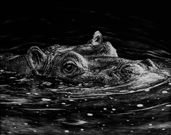 """Breaking the Surface Ink & Clay on Scratchboard 10"""" x 8"""""""