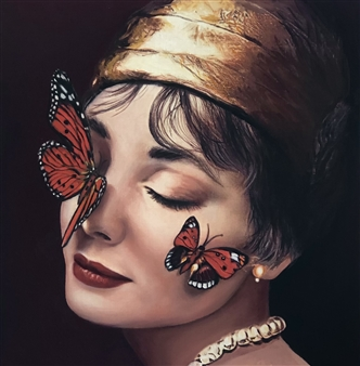 """Kissed by Butterflies Oil on paper 8.5"""" x 8"""""""