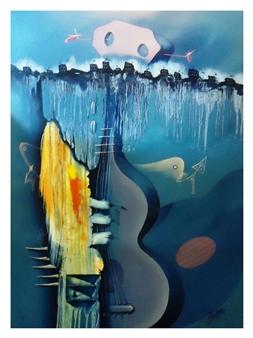 "De la serie GUITARRAS Oil on Canvas 37.4"" x 29.5"""