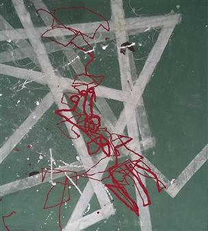 "BM18DY Twine & Oil on Canvas 42"" x 37.5"""