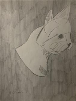 """Cat Portrait 15 Graphite on Paper 11"""" x 14"""""""