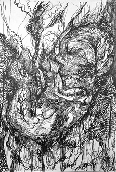 """Unbornchild Pen on Paper 13.5"""" x 9.5"""""""