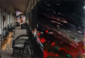 """Dream Rooms no. 35 - The Porch Collage & Mixed Media on Paper 20"""" x 24"""""""