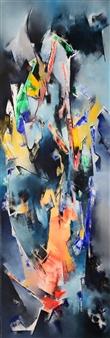"""Extraño y Distante Oil on Canvas 47.5"""" x 16"""""""