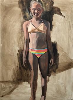 """Girl on the Beach Oil on Panel 48"""" x 36"""""""
