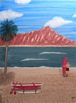 """Hawaii Diamondhead Watercolor on Board 24.5"""" x 20.5"""""""