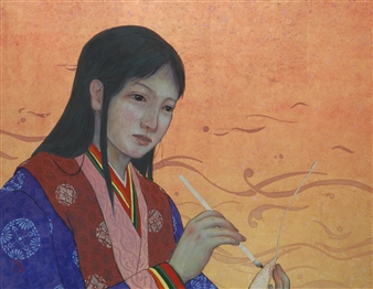 """Heian Period Girl Mixed Media on Japanese Paper 12.5"""" x 16"""""""