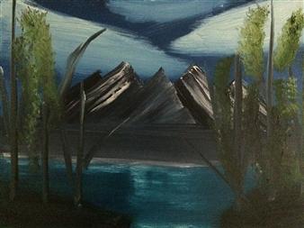 "Mountainside lake Oil on Canvas 18"" x 24"""