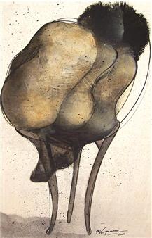 "Las Siamesas Ink on Paper 35.5"" x 25.5"""