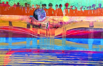 """INFINITY: A Cheerful Painting About Death  (and everyone you'll meet there) Acrylic & Spraypaint on Canvas 36"""" x 54"""""""